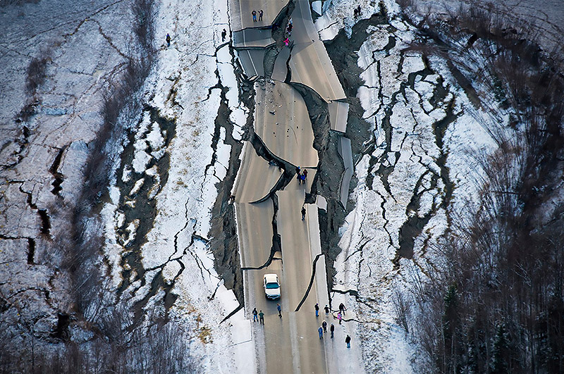 Highway after an earthquake